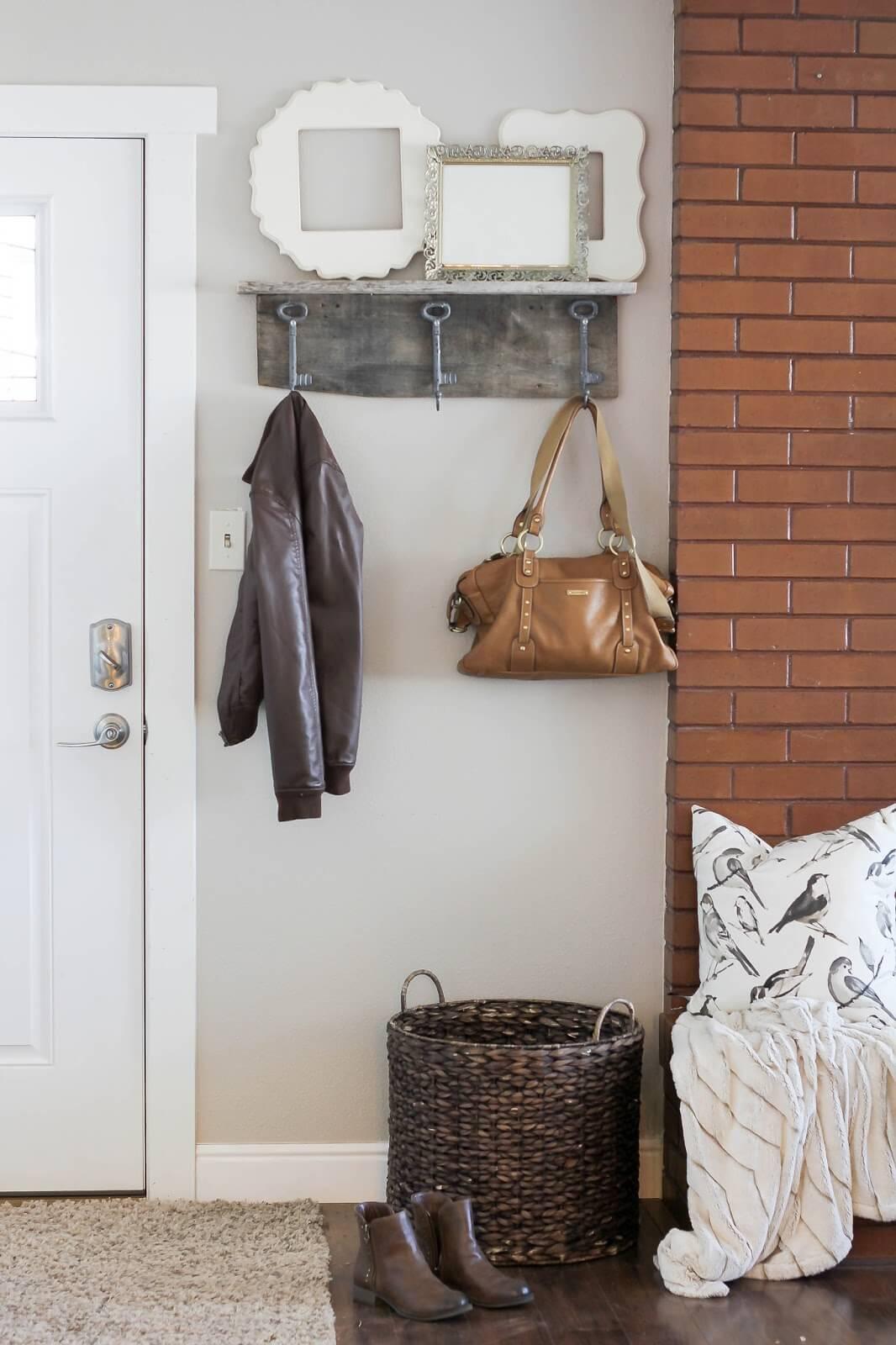 Make a Wall Shelf with Oversized Key Hooks