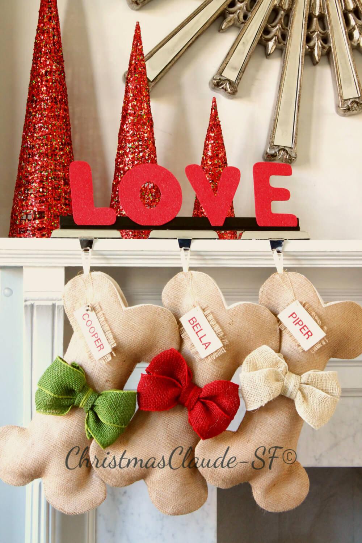 Dog Bone Burlap Christmas Stocking