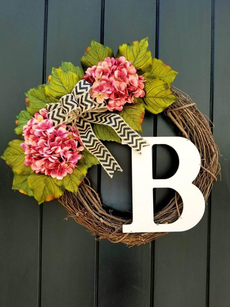Summer Twig and Flower Monogram Door Wreath