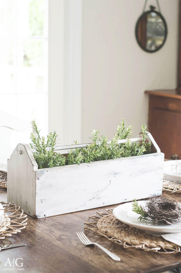 Wooden Plant Carrier with Greens Inside