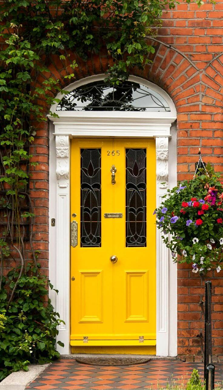 Sunshine Yellow Door on a Cloudy Day