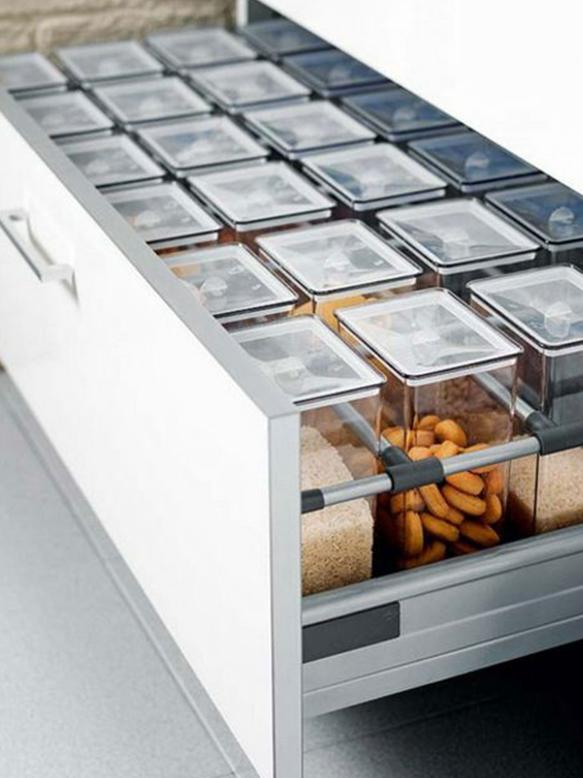Place Same-Sized Canisters in Rows in a Deep Drawer