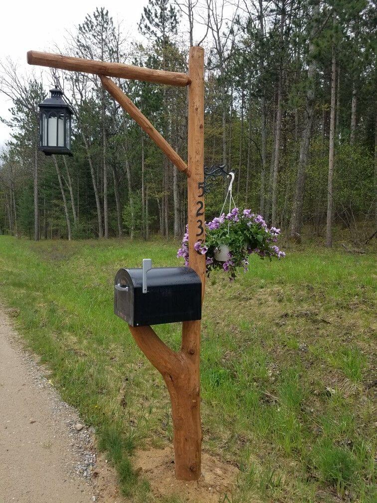 Branch Mailbox with Lamp Accent