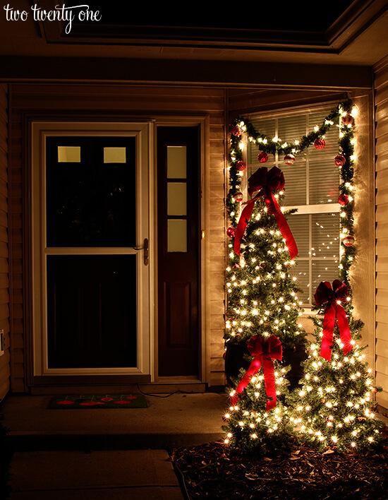 Multi-Sized Mini Christmas Trees + Lights