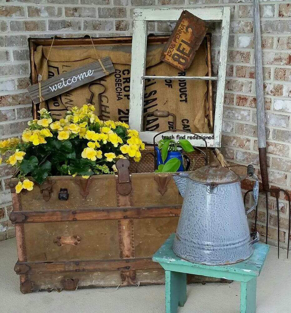 Old Steamer Trunk Planter with Accessories