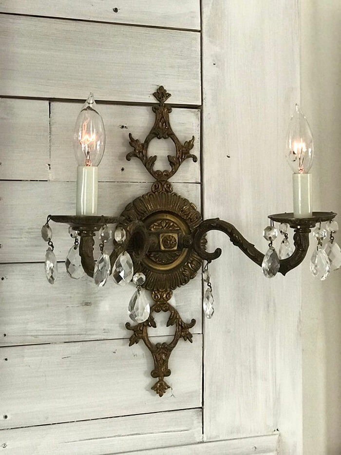 Intricate Wall Sconce with Crystals
