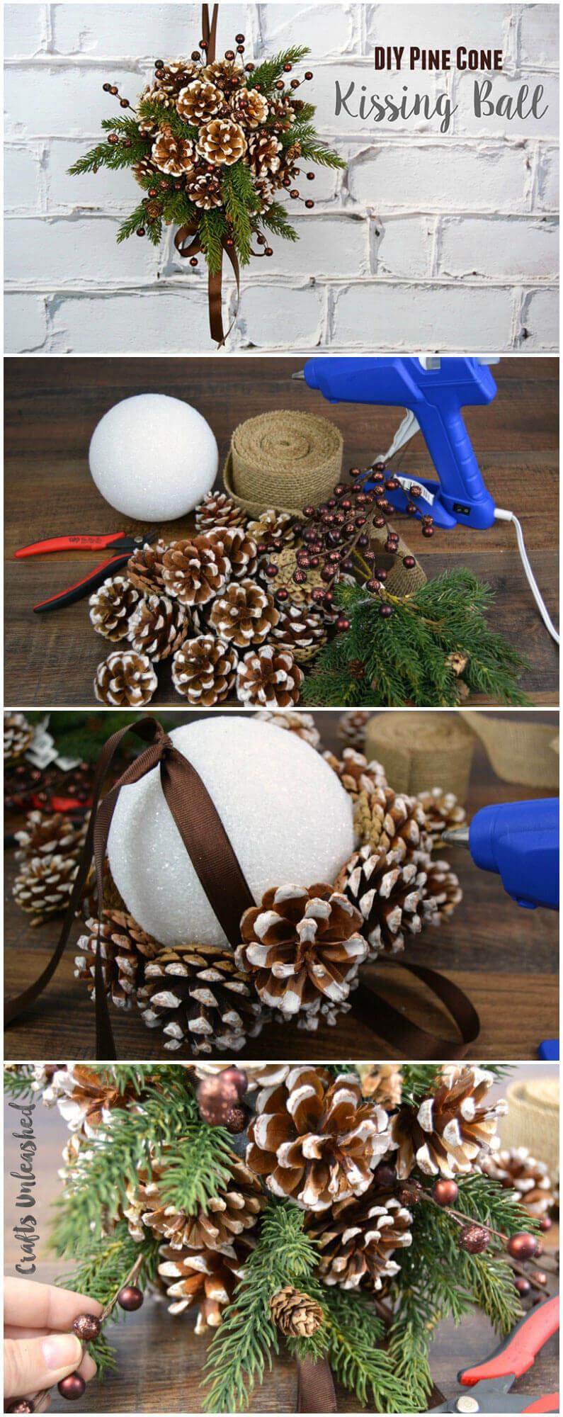 DIY Pine Cone Kissing Ball