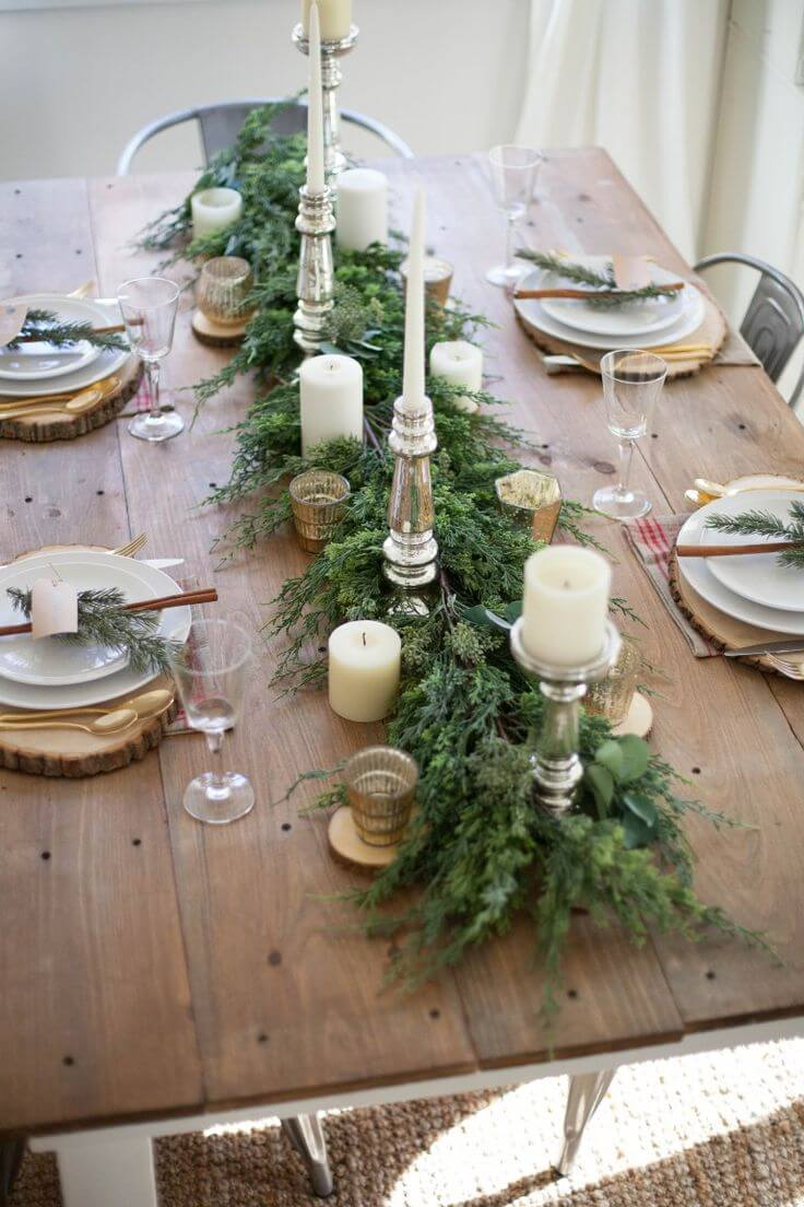 Chic Evergreen Centerpiece With Candles