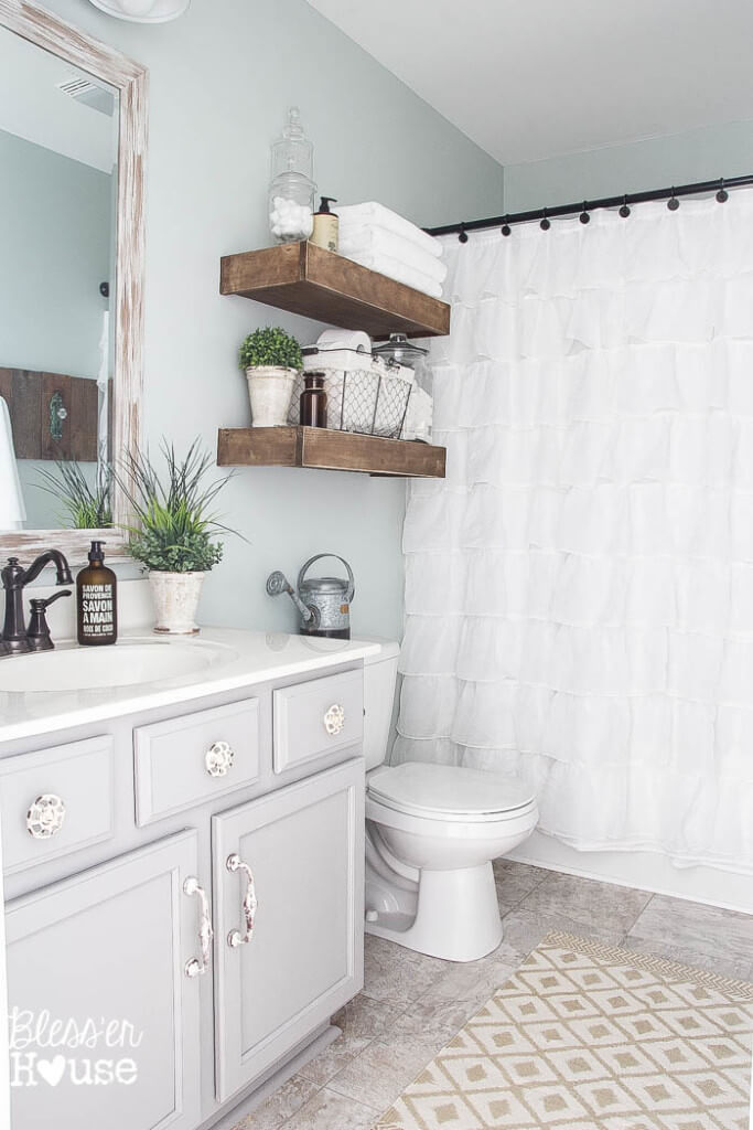 Easy DIY Wood Bathroom Shelves