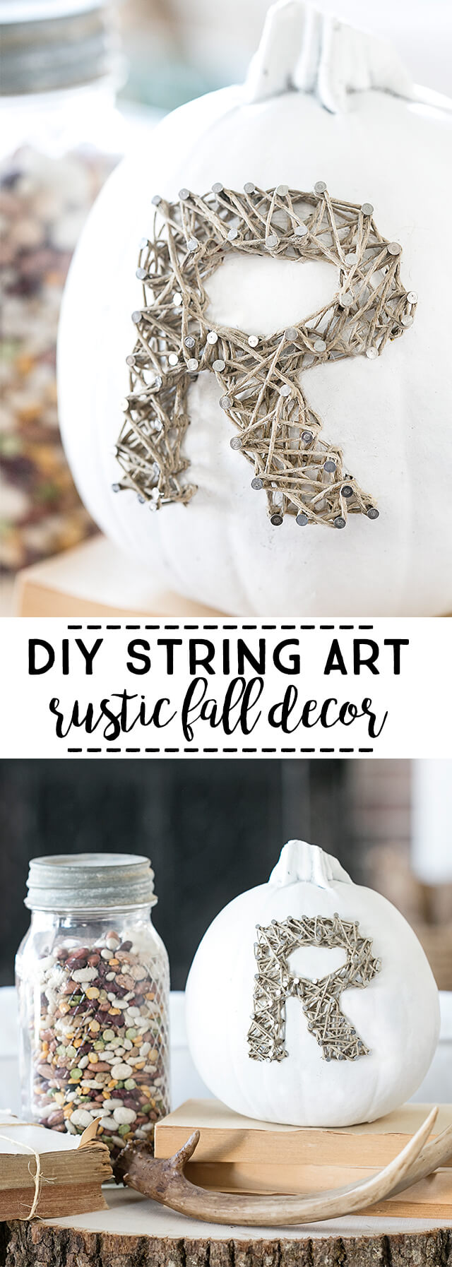 Rustic String Art Pumpkin Decoration