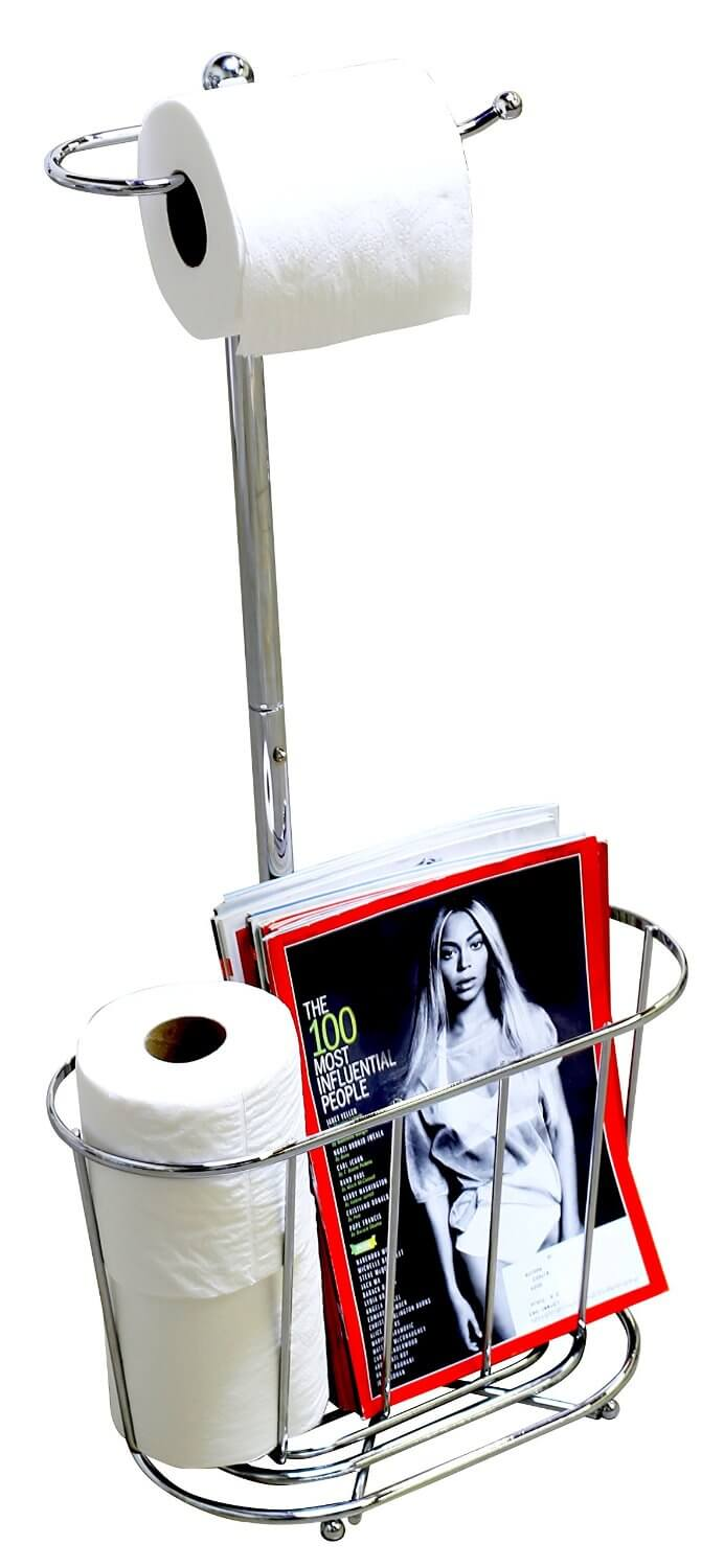 Chrome Freestanding Bathroom Magazine Holder