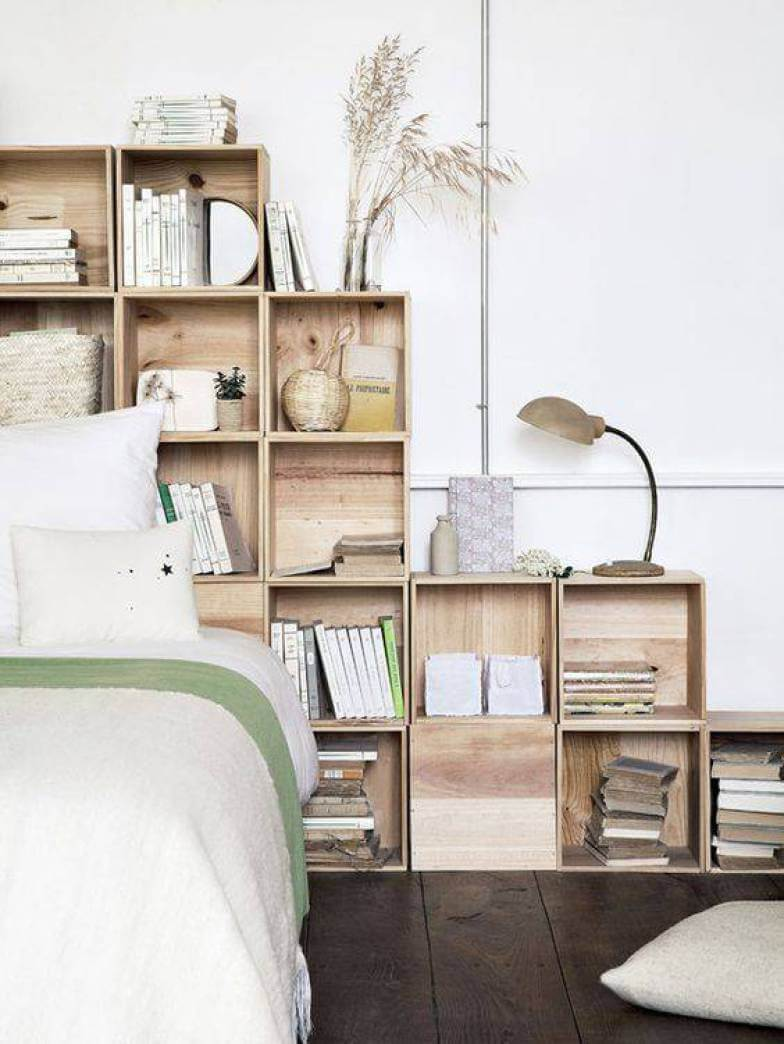 Wooden Stacking Bookcase Bed Panel