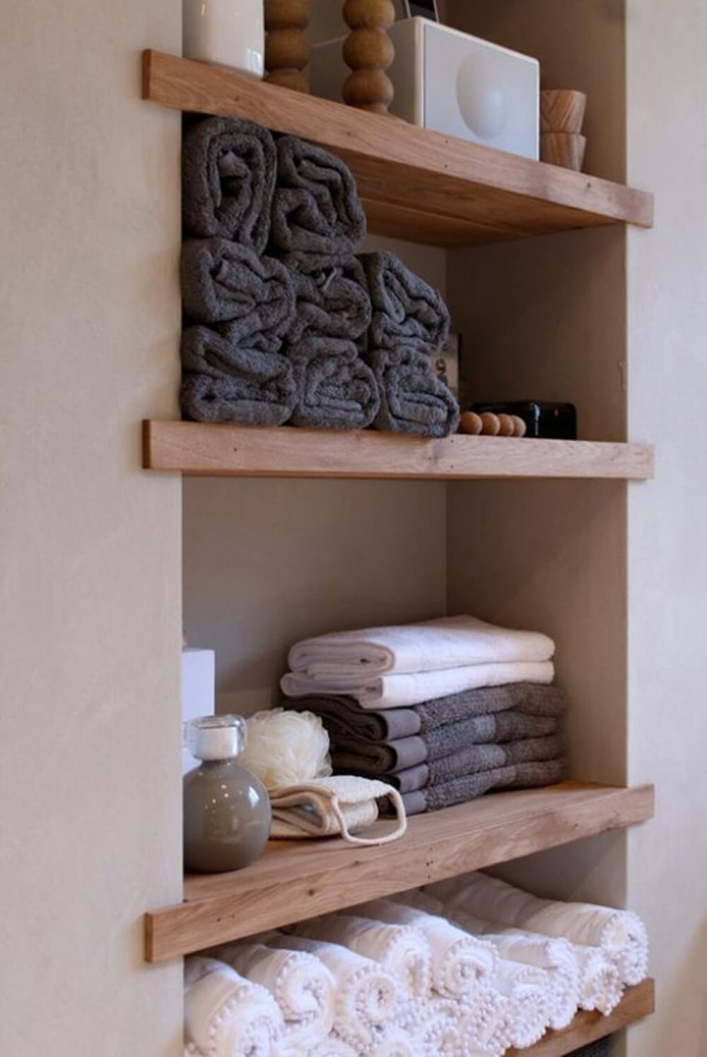 Built-in Natural Wood Shelving