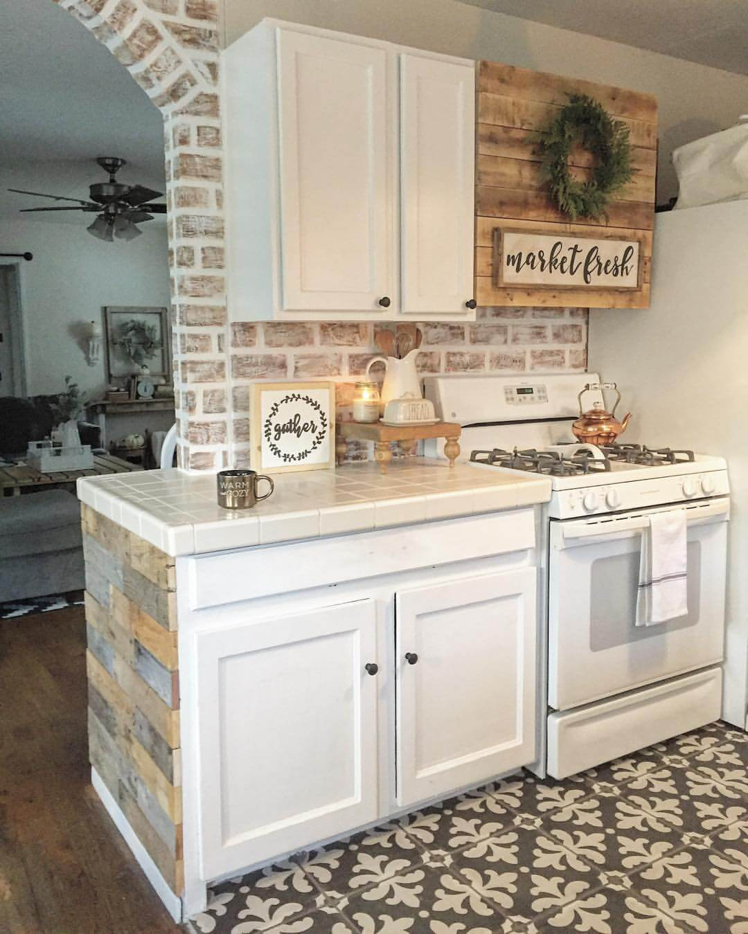 Tile Countertop with Weathered Wood Boards