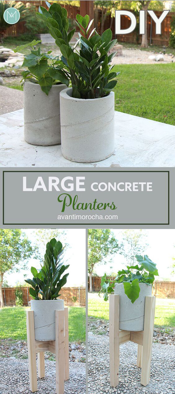 DIY Large Backyard Planters with Concrete