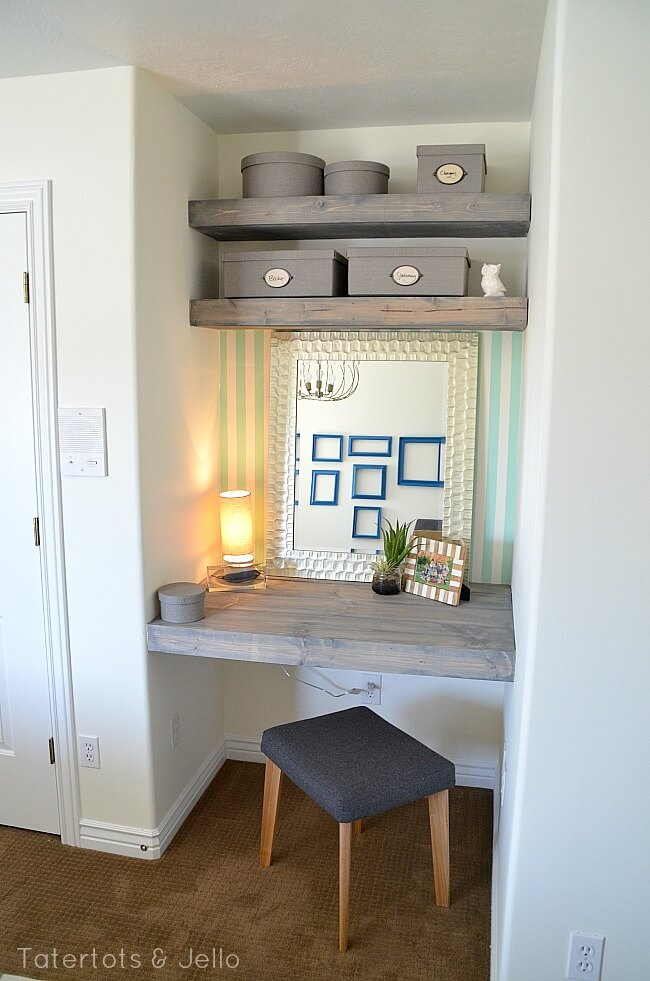 Weathered Gray Desk Tucked in an Alcove