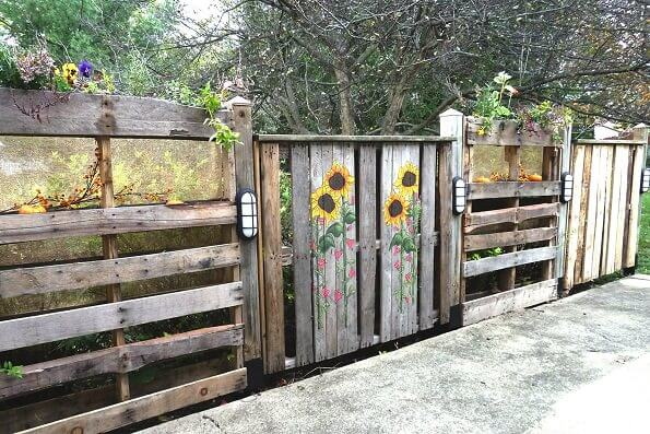 Hand Painted Recycled Wooden Pallet Fence