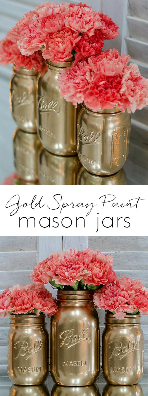 Spray Paint Mason Jars Gold