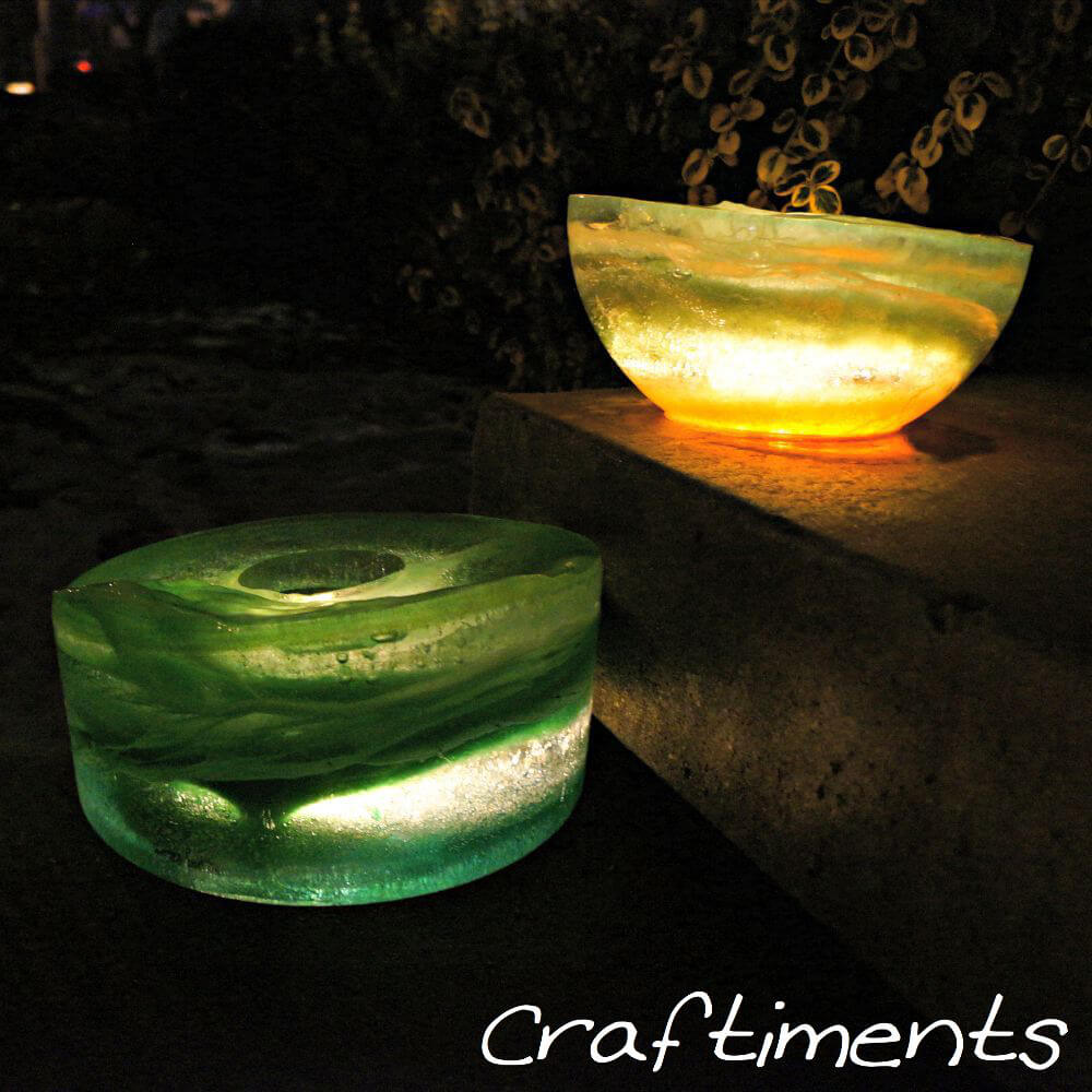 Glassy Ice Bowls for Outdoor Lighting
