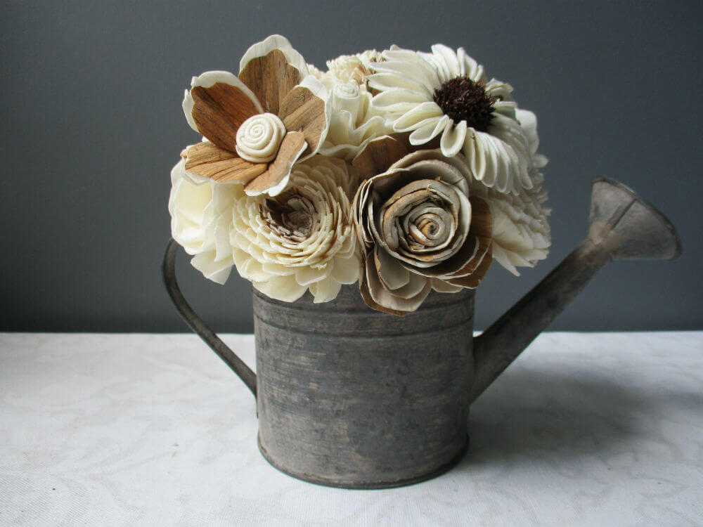 Overflowing Farmhouse Watering Can with Sola Flowers