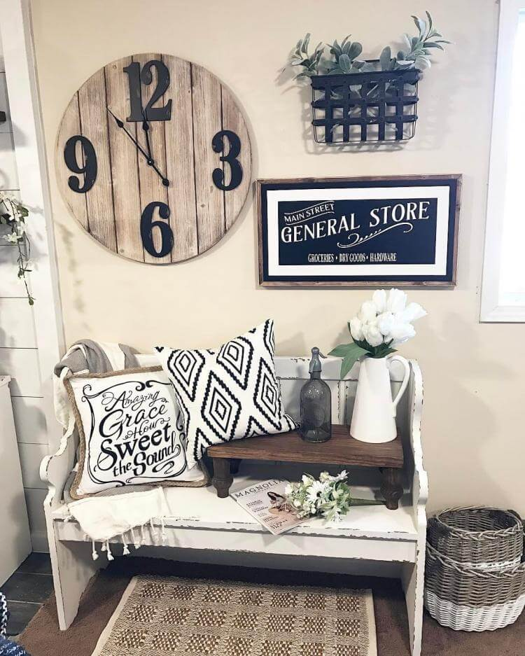Church Bench, Barrel Clock and Wicker Basket
