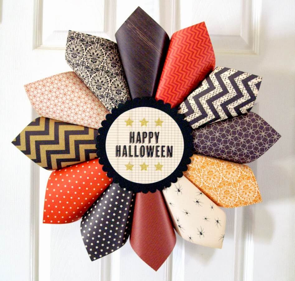 Multi-Patterned Autumn Colored Flower Wreath