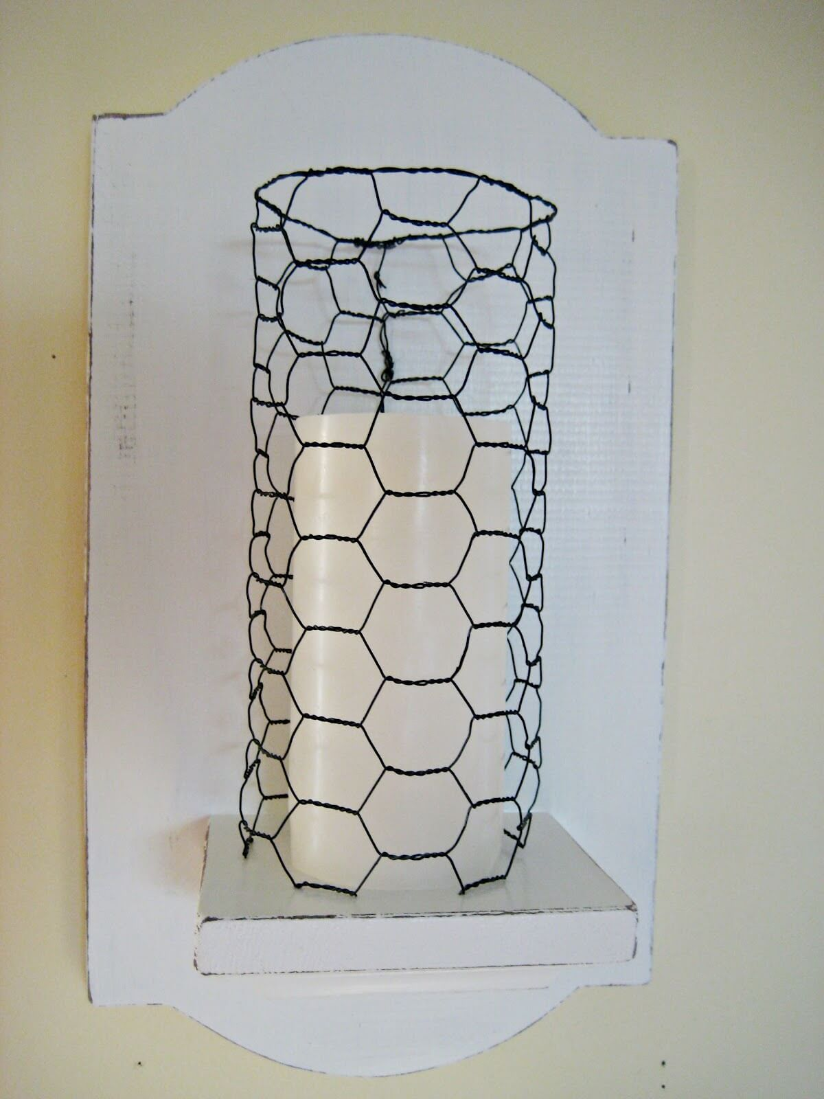 Chicken Wire Wall Sconce with Candle