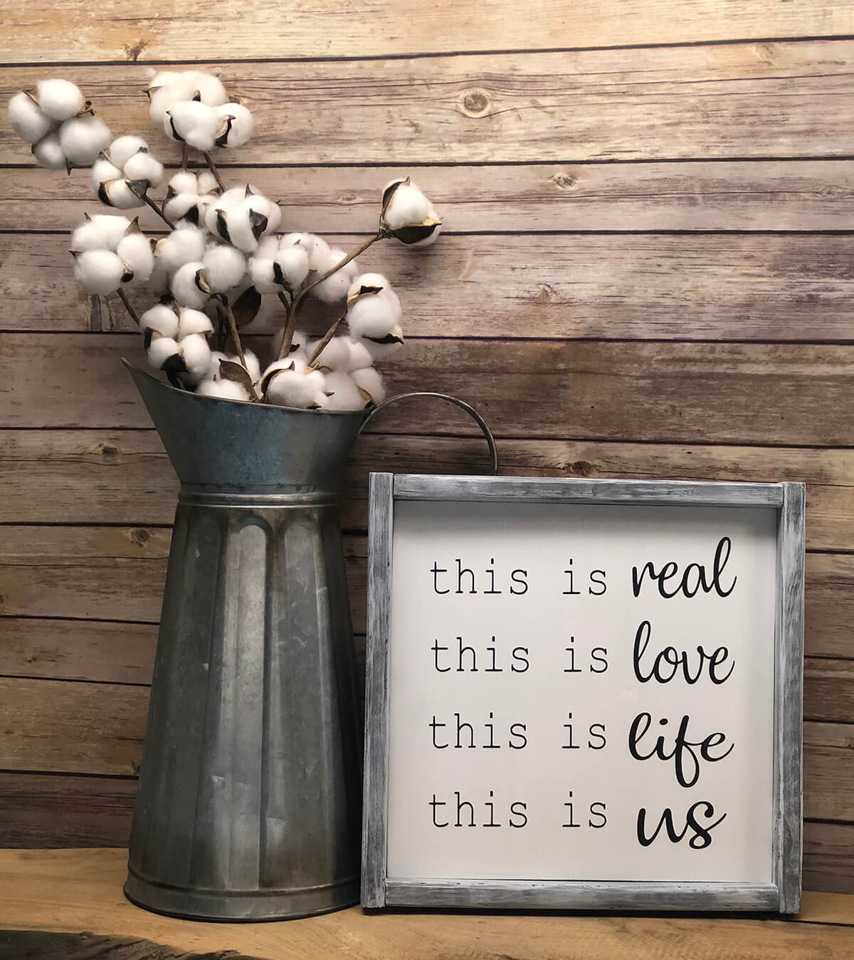 Weathered White Frame with Mixed Type