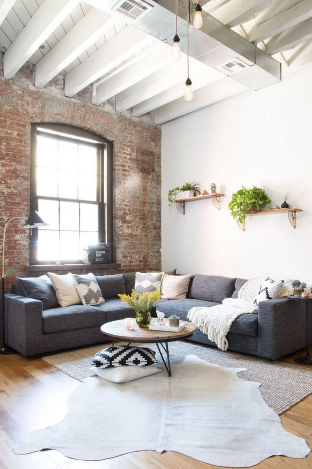 An Industrial but Homey Living Room