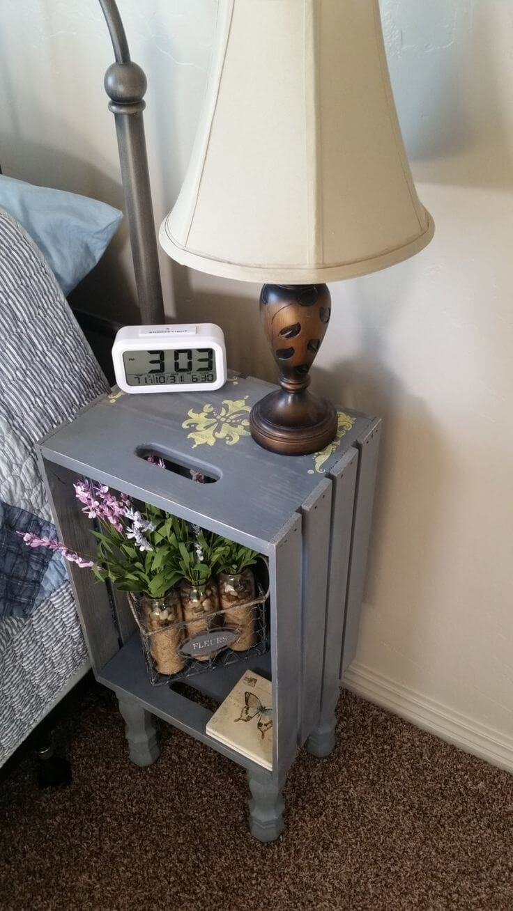 Cozy Crate Nightstand on Raised Feet