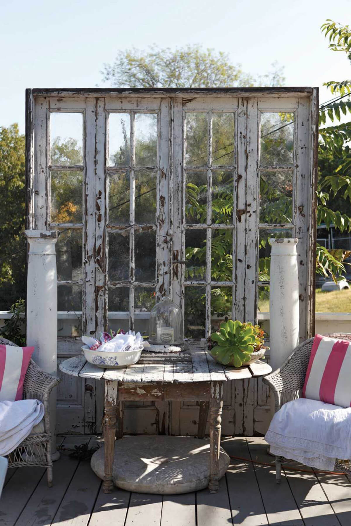 Graceful Recycled French Doors as a Divider