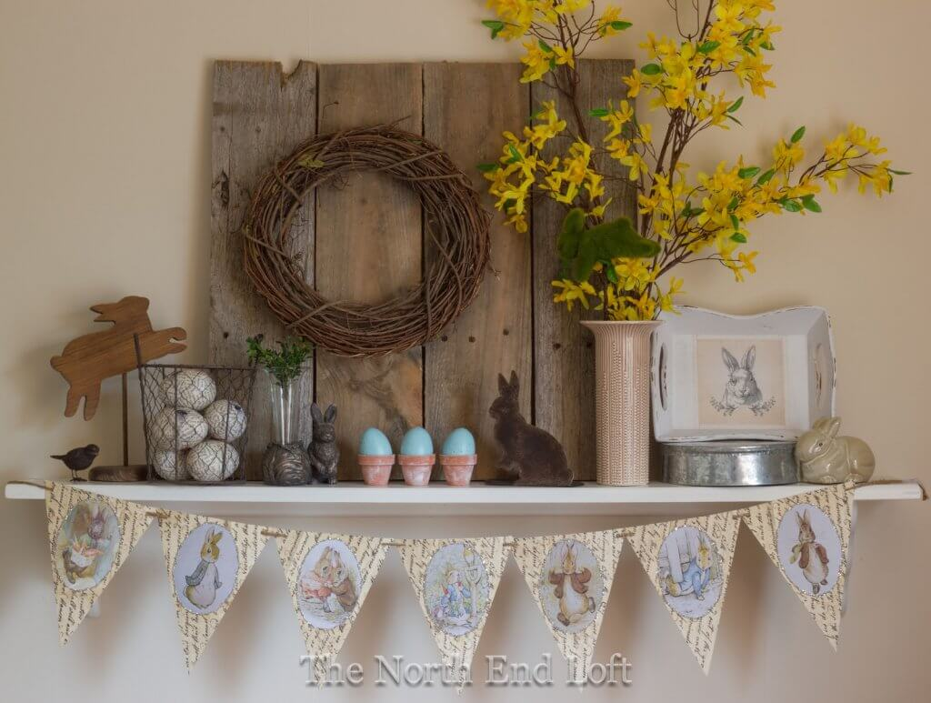 Easter Curio Collection on Floating Shelf