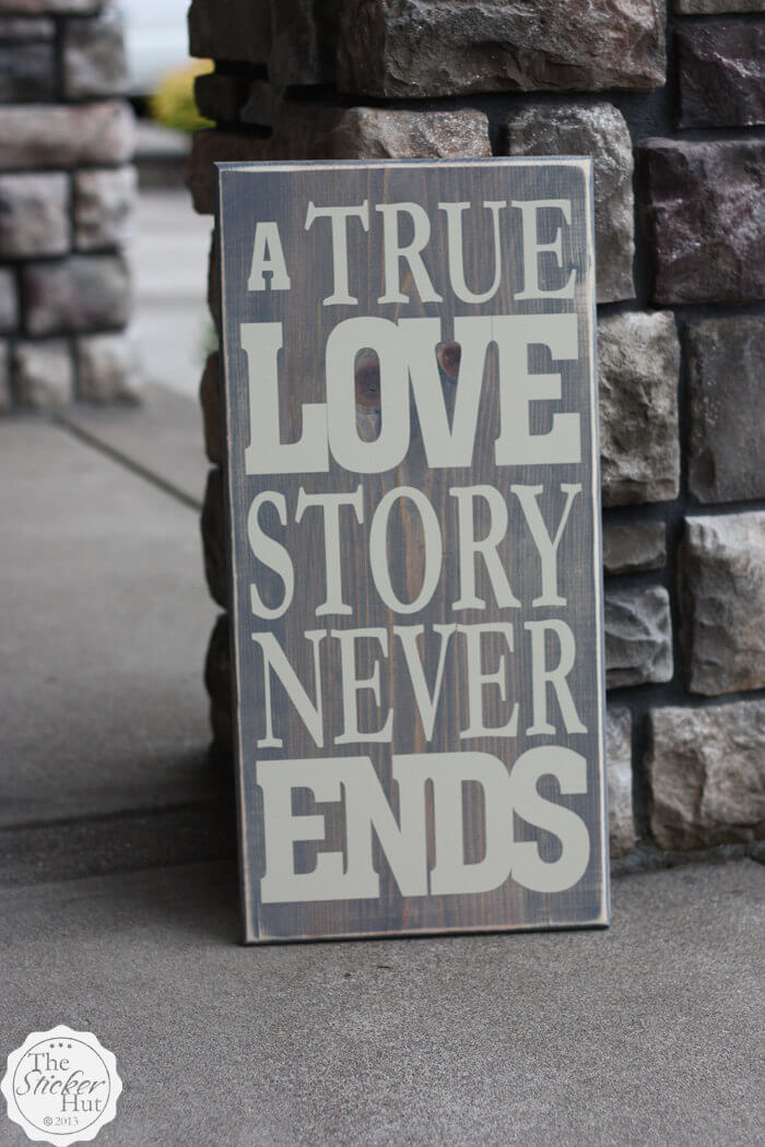 Simple Block Letter Love Story Sign