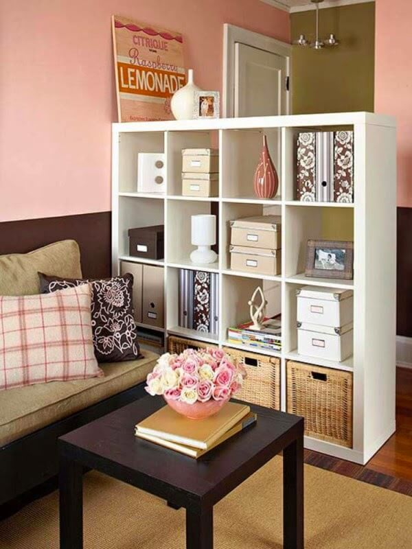 Shelves Multitask as Storage and Room Divider