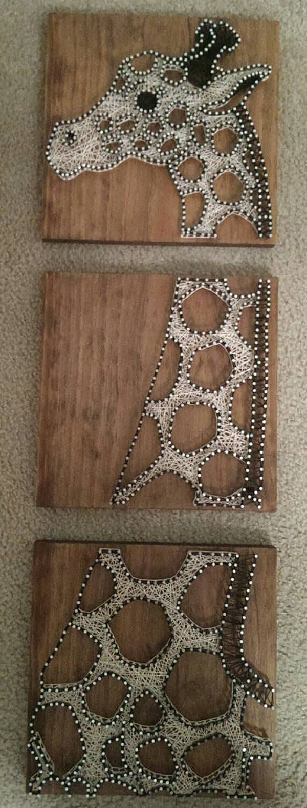 Three Part Giraffe String Art