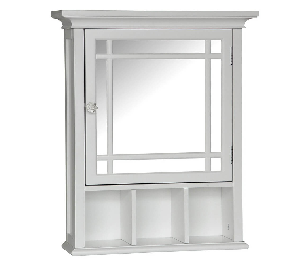 Elegant Home Fashions Madison Avenue Collection Shelved Wall Cabinet with Glass-Paneled Doors White