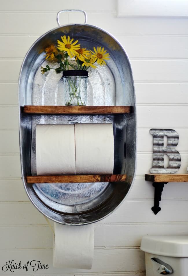 Reconfigured Washtub Shelf and Dispenser Unit