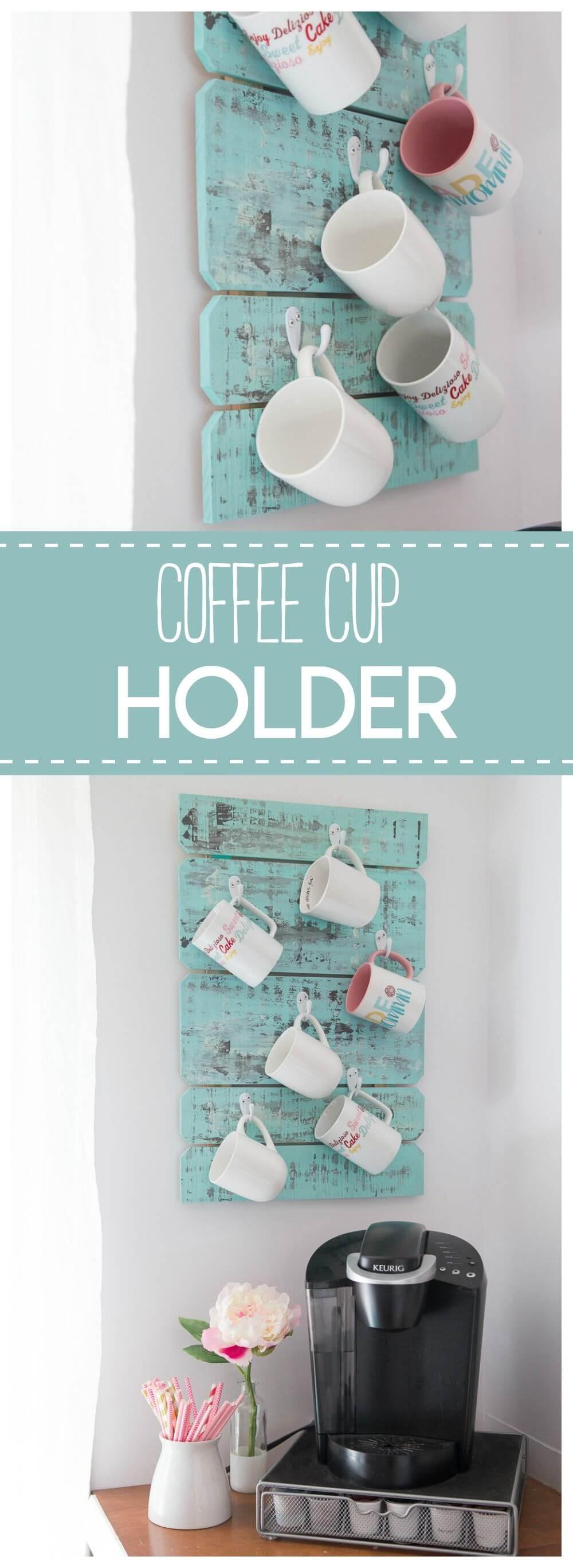 Coffee Mugs Hung on Rustic Planks