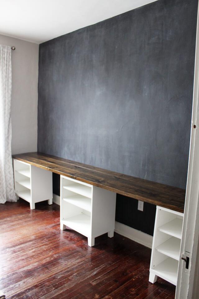 Easy DIY Desk with Three Shelves Underneath