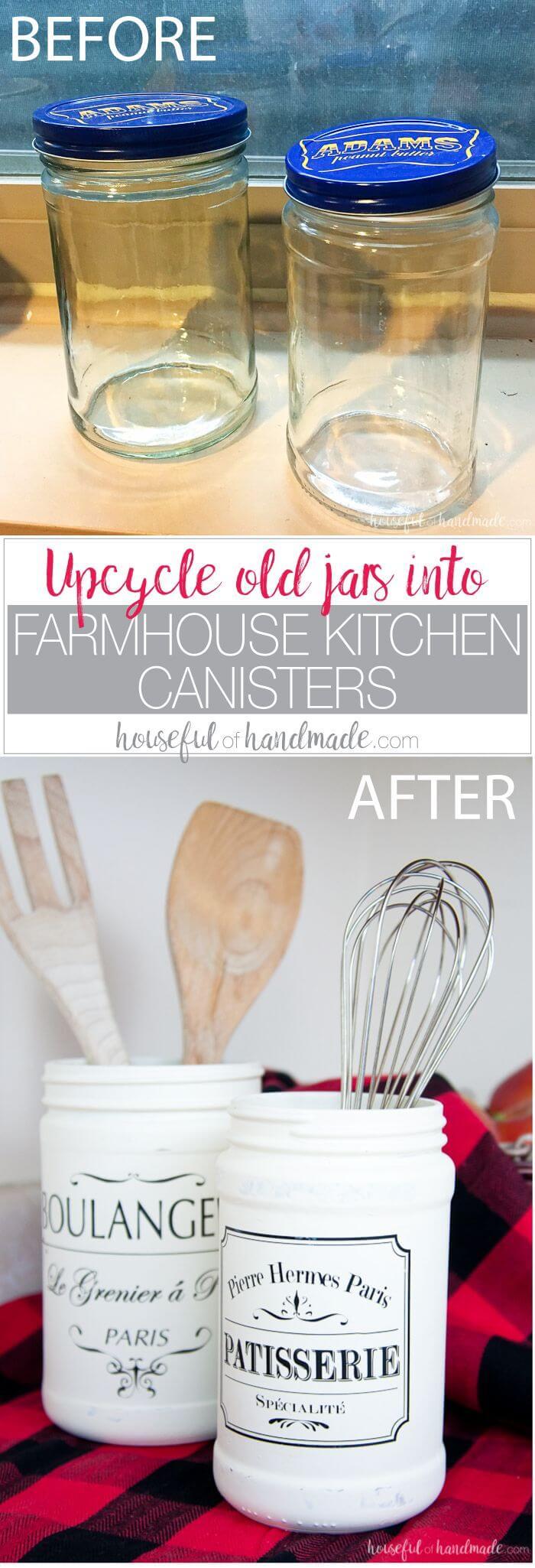 Make Old Jars into Vintage Inspired Canisters