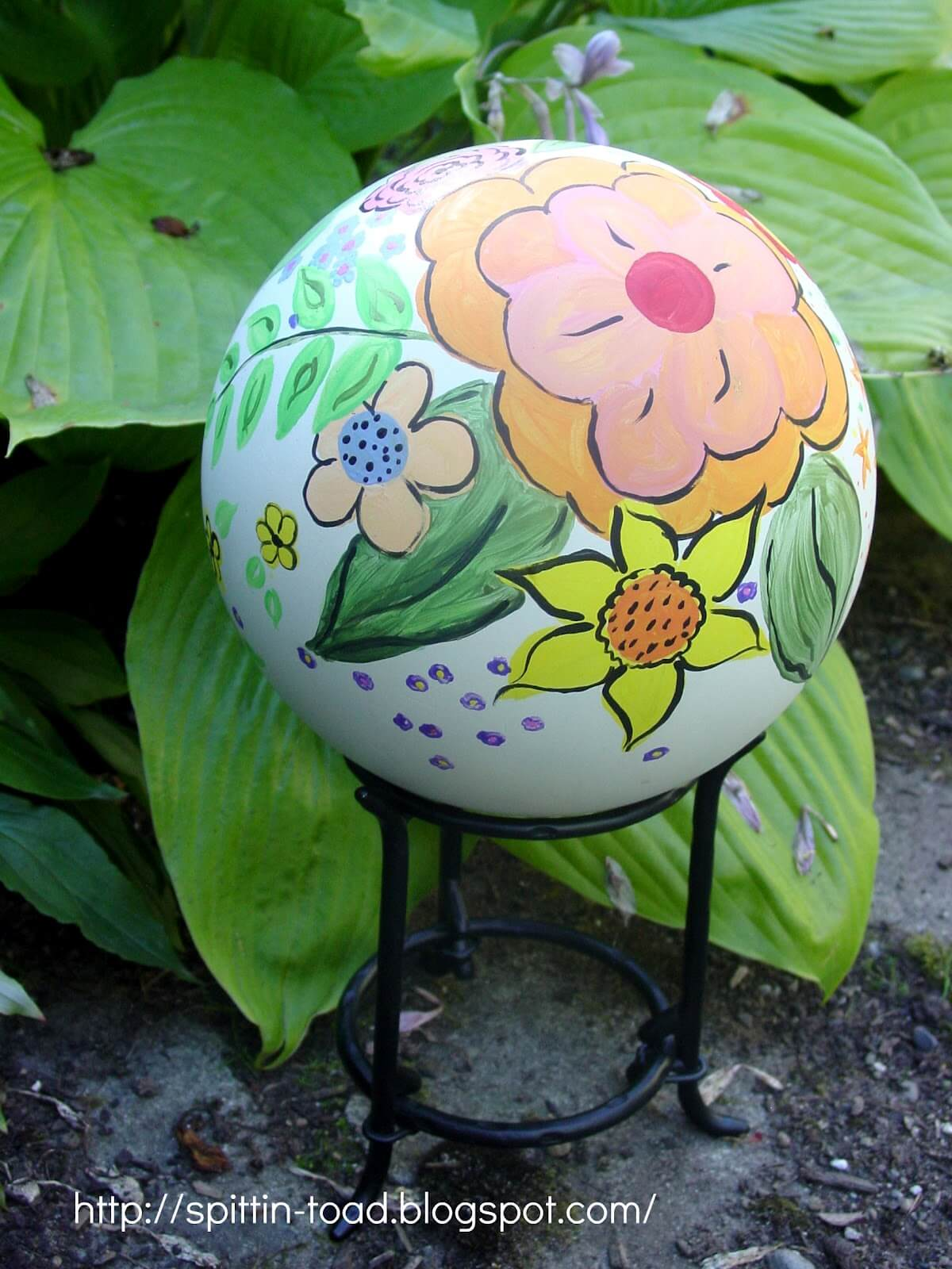 White Globe with Hand Painted Flowers