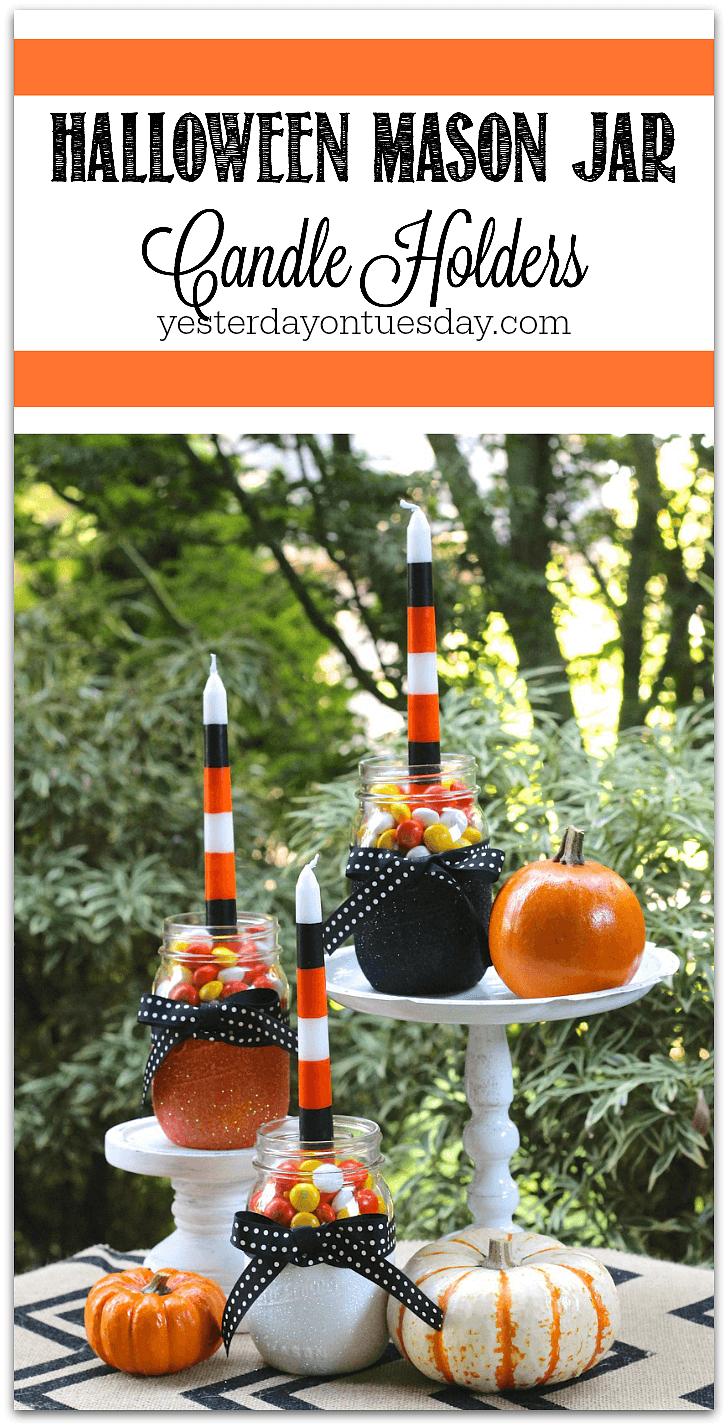 Sparkly Halloween Mason Jar Candle Holders