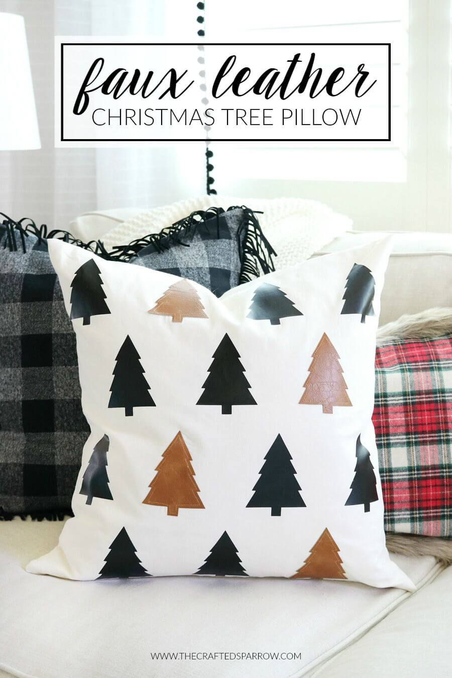 Faux Leather Christmas Tree Pattern Pillow