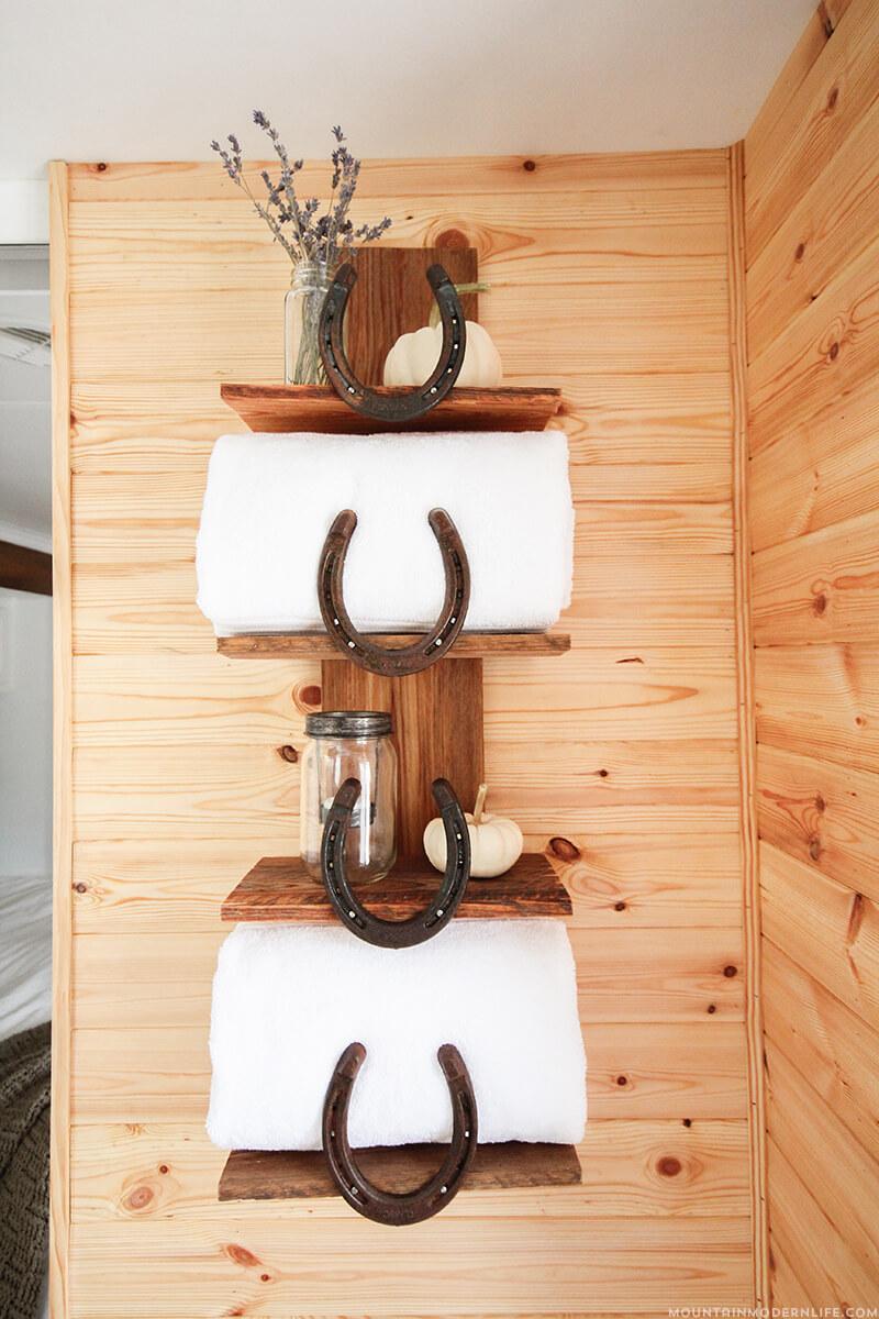 Horseshoe and Wood Shelving Unit
