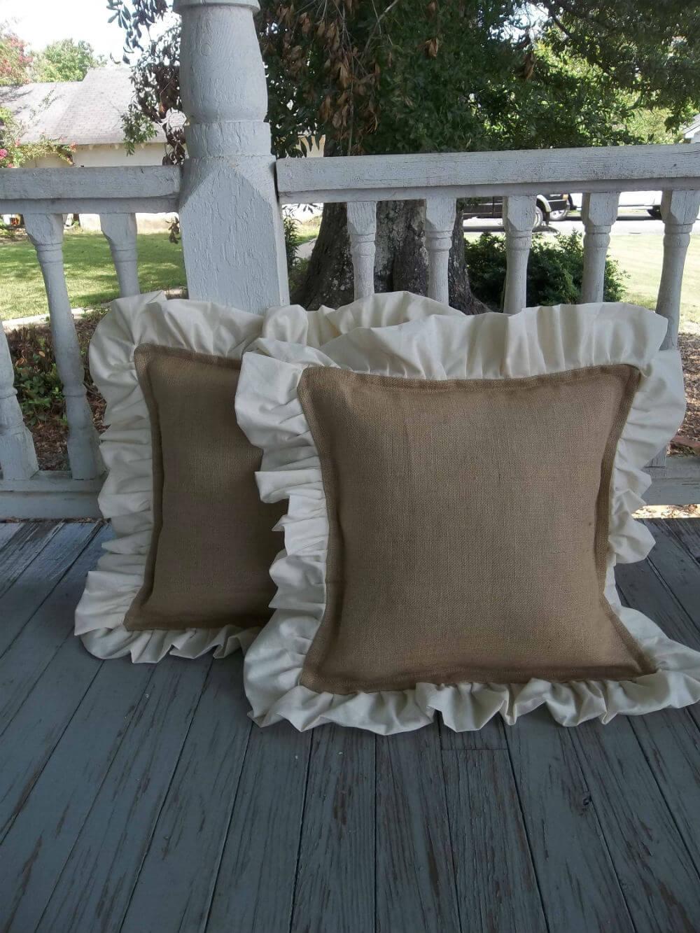 White Ruffled Burlap Decor Pillow Covers