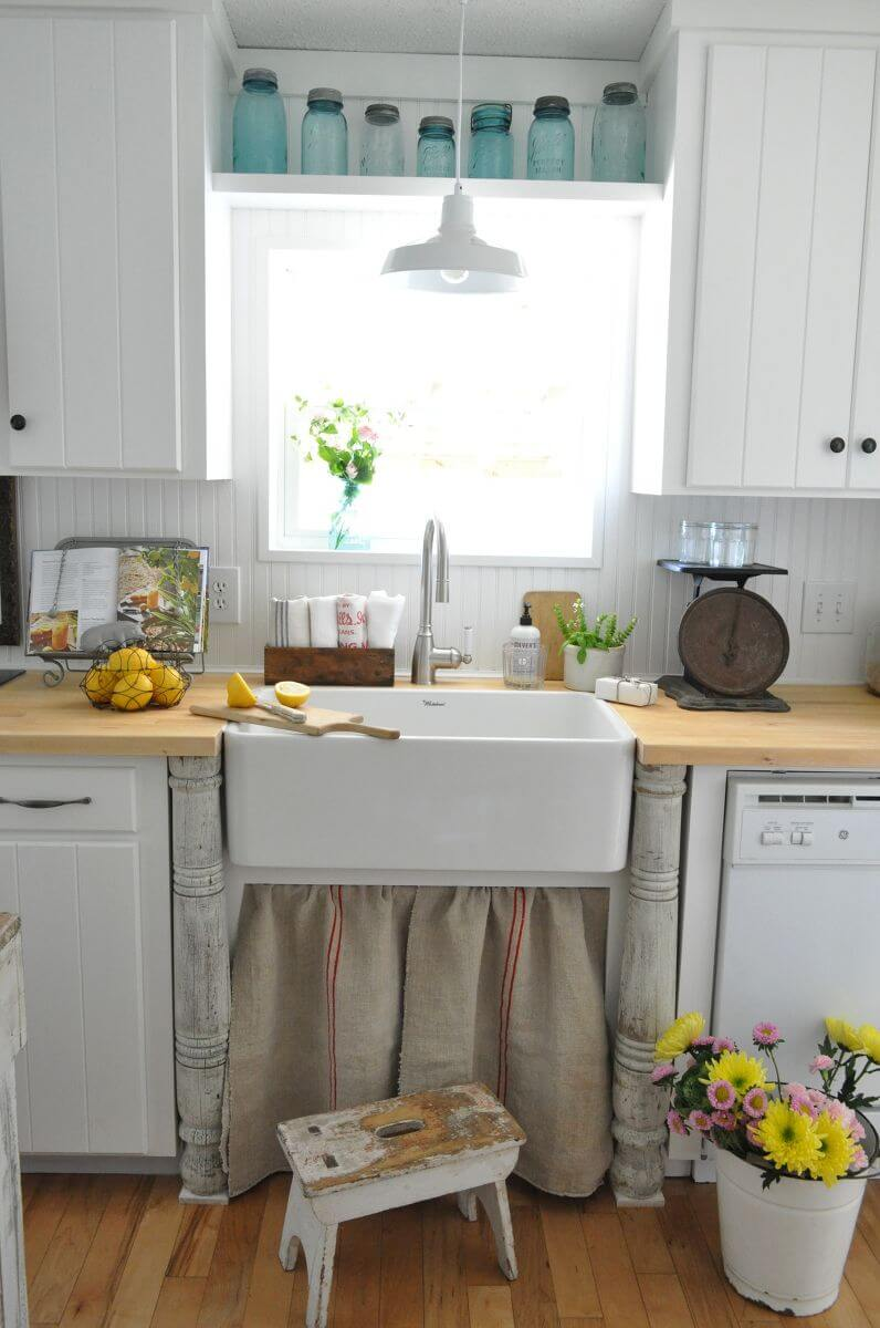 Simple Paneled White Cabinets with Black Hardware