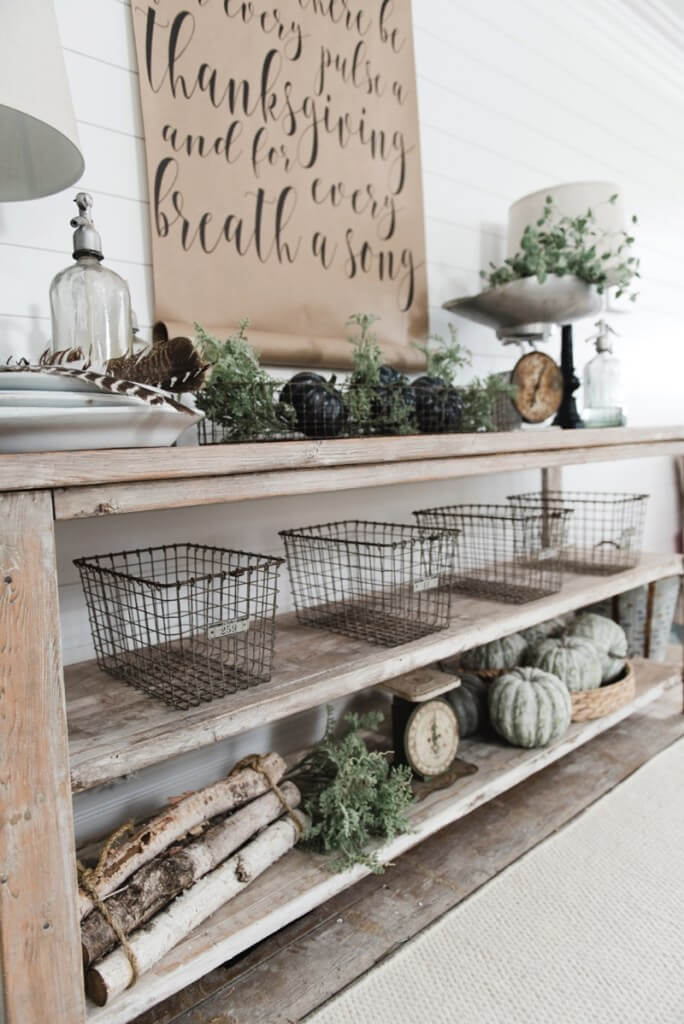 Long Sideboard with Wire Baskets, and Gourds