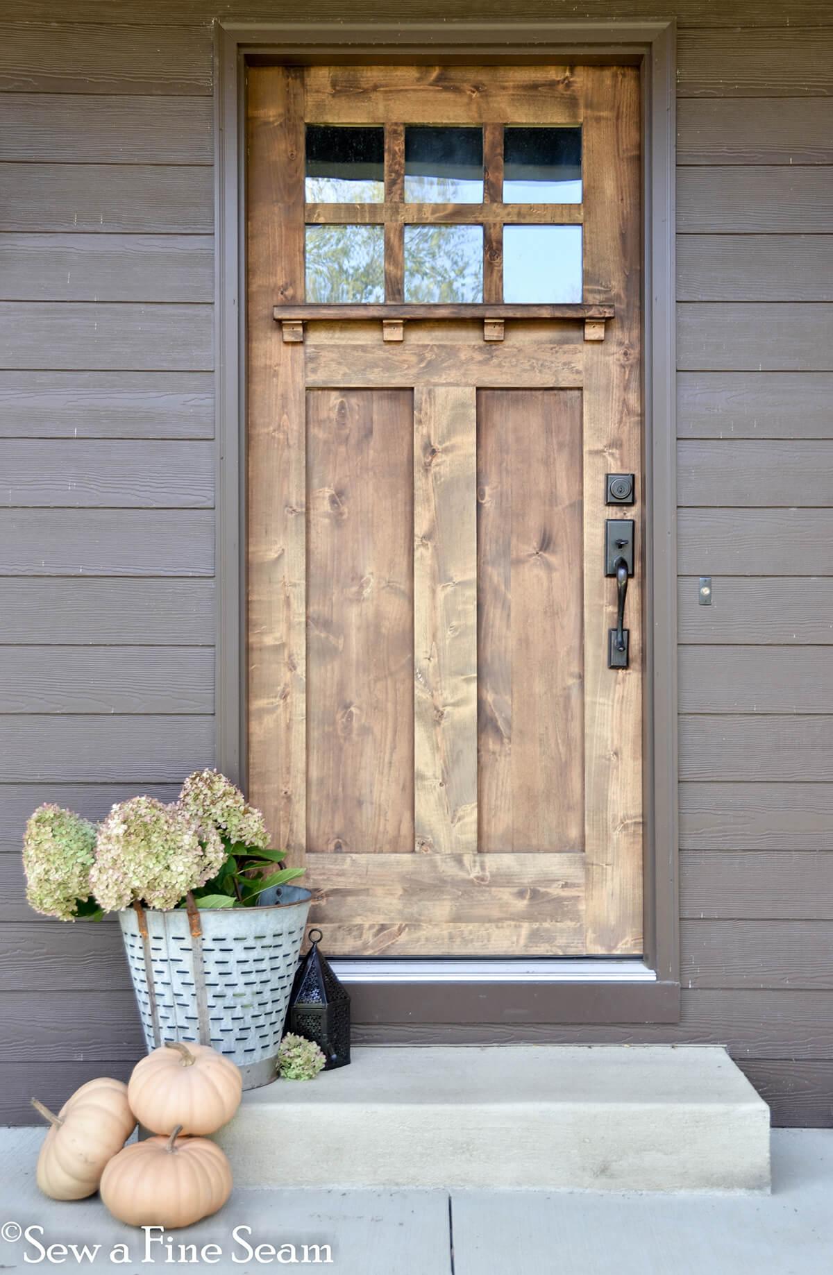 Wood Front Door with Hydrangea Bloom Decor