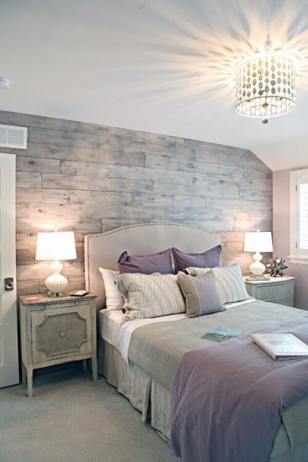 Textures and Soft Lavender Color Pops Set the Mood in this Grey Bedroom