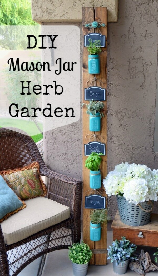 Shabby Chic Painted Mason Jar Herb Garden